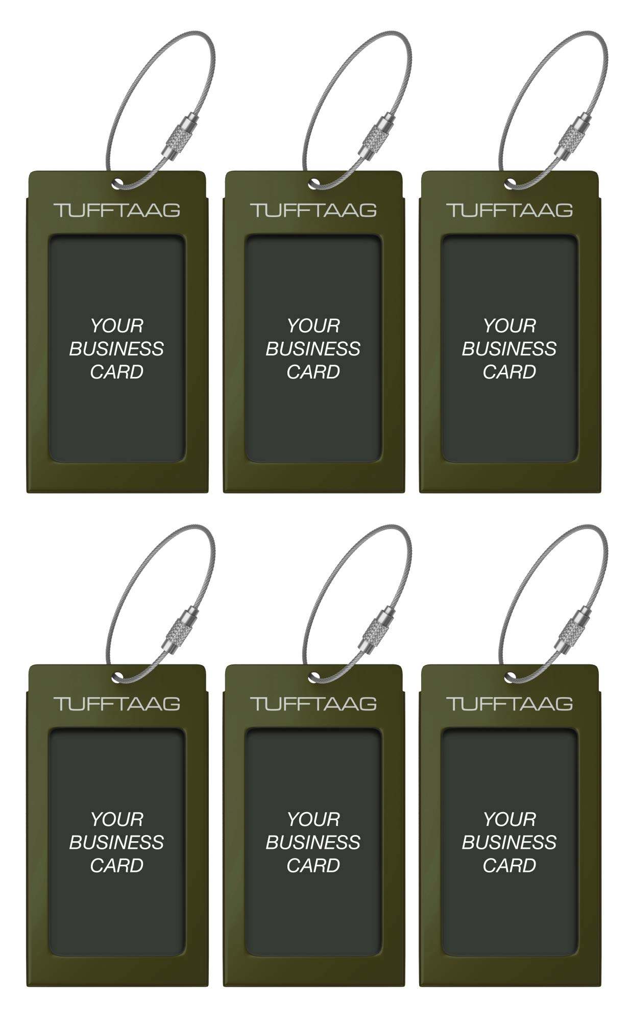 Luggage Tags TUFFTAAG for Business Cards, Metal Suitcase Labels, 6 Pack Bundle (6 Green) by ProudGuy