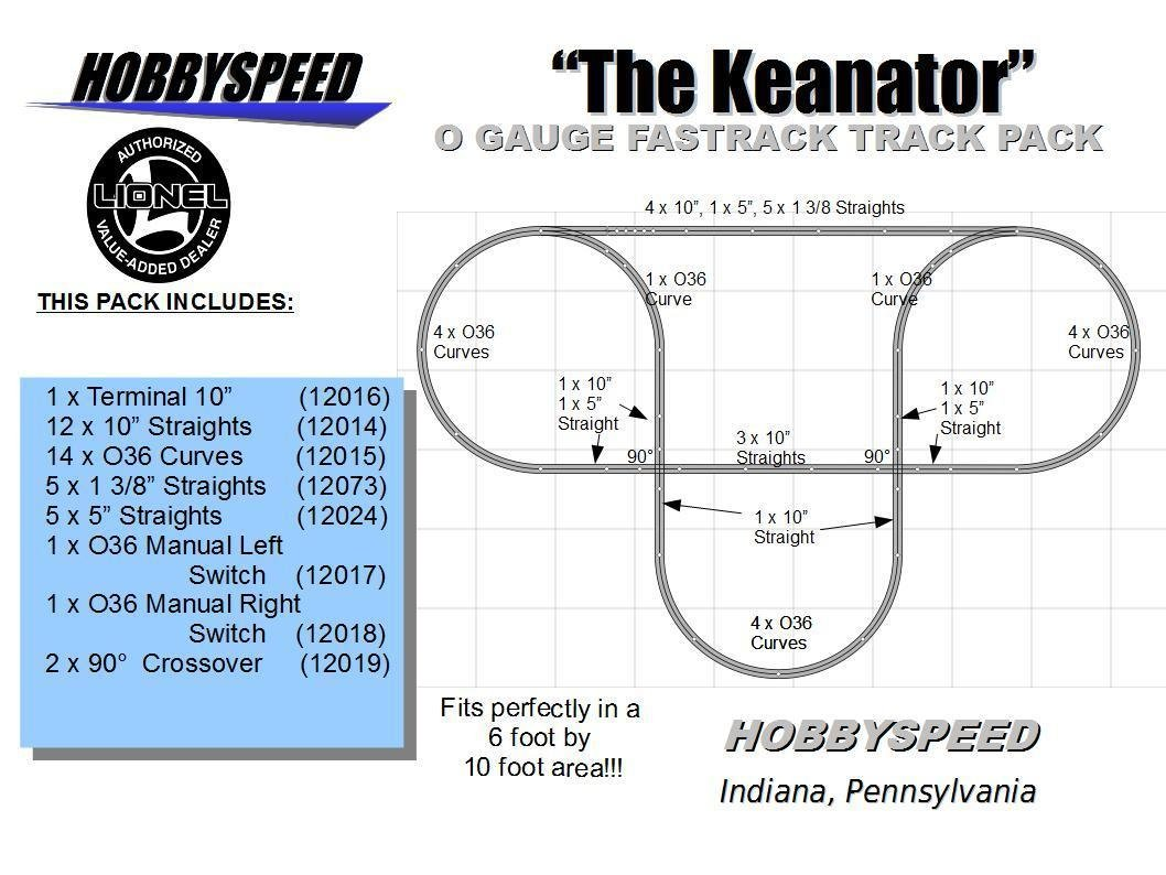 Lionel Fastrack Keanator Track Layout 6 X 10 O Gauge Switch Wiring Free Download Diagrams Pictures Pack Toys Games