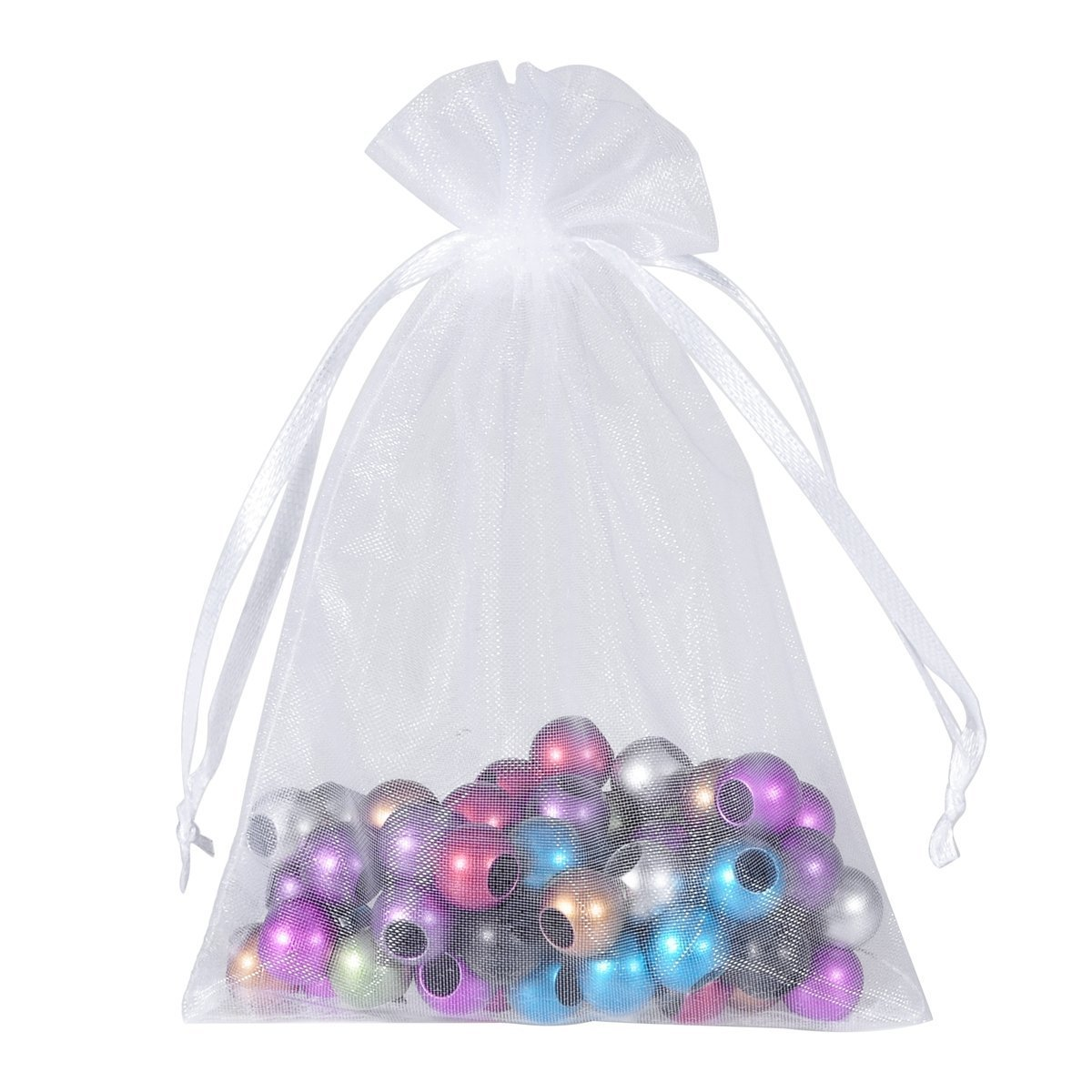 50 Pieces Drawstring Organza Bag Jewelry Bag Baby Shower Party Wedding Favor Package White 13 * 16cm DierCosy