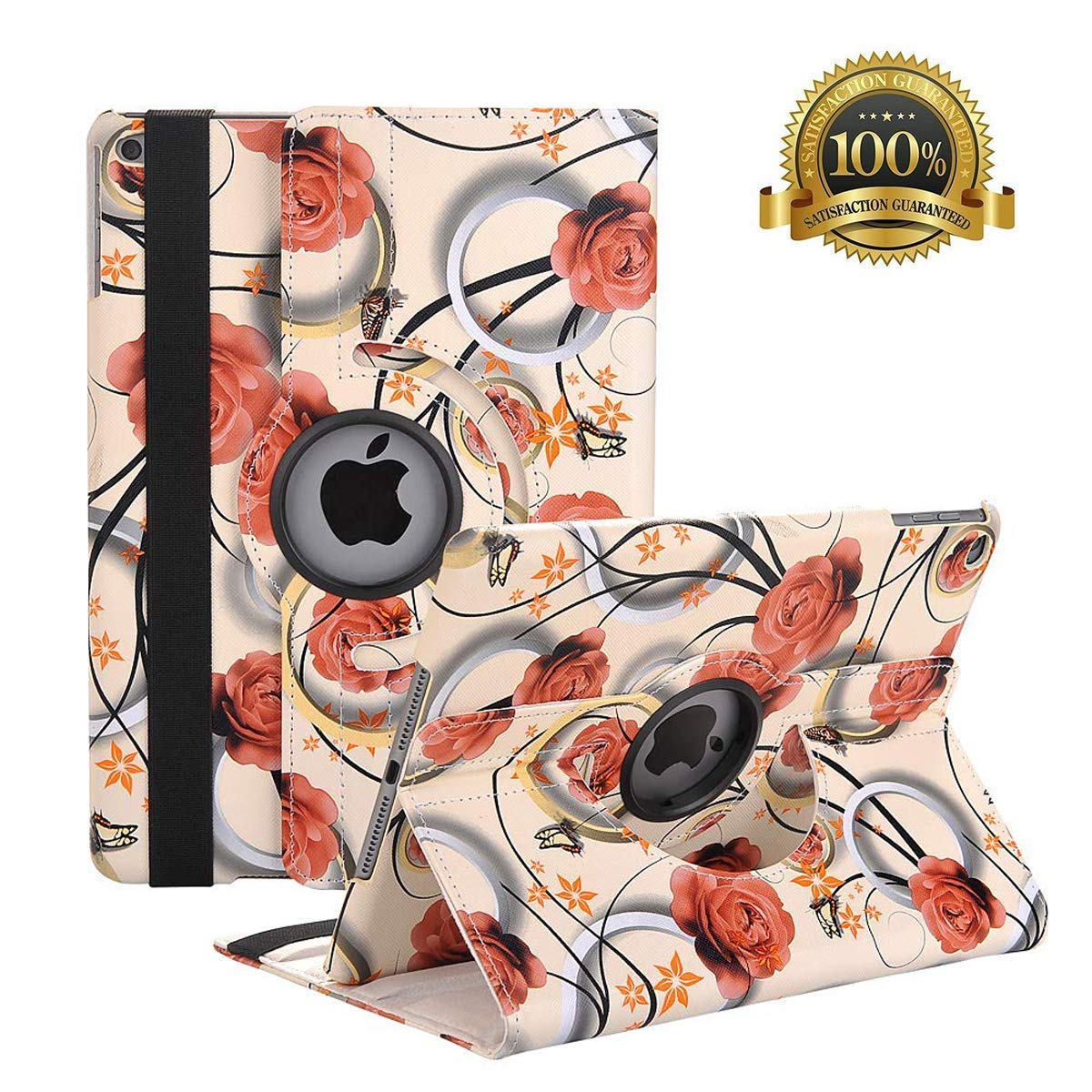"""Hsxfl New iPad 9.7 inch 2018 2017/ iPad Air Case - 360 Degree Rotating Stand Smart Cover Case with Auto Sleep Wake for Apple iPad 9.7"""" (6th Gen, 5th Gen)/iPad Air (Coffee Rose)"""