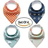 Snap Buttons Cotton Baby Bandana Drool Bibs Saliva Towel for Set of 4 Baby Feeding