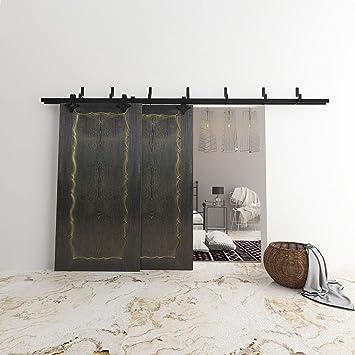 vanCleef 5 – 16 ft Bypass Kit de puerta corredera puerta Hardware, diseño de rombos, Lightning estilo z – Soporte, interior y exterior, con silencioso Glide rodillo y descriptivo instalación manual: Amazon.es: