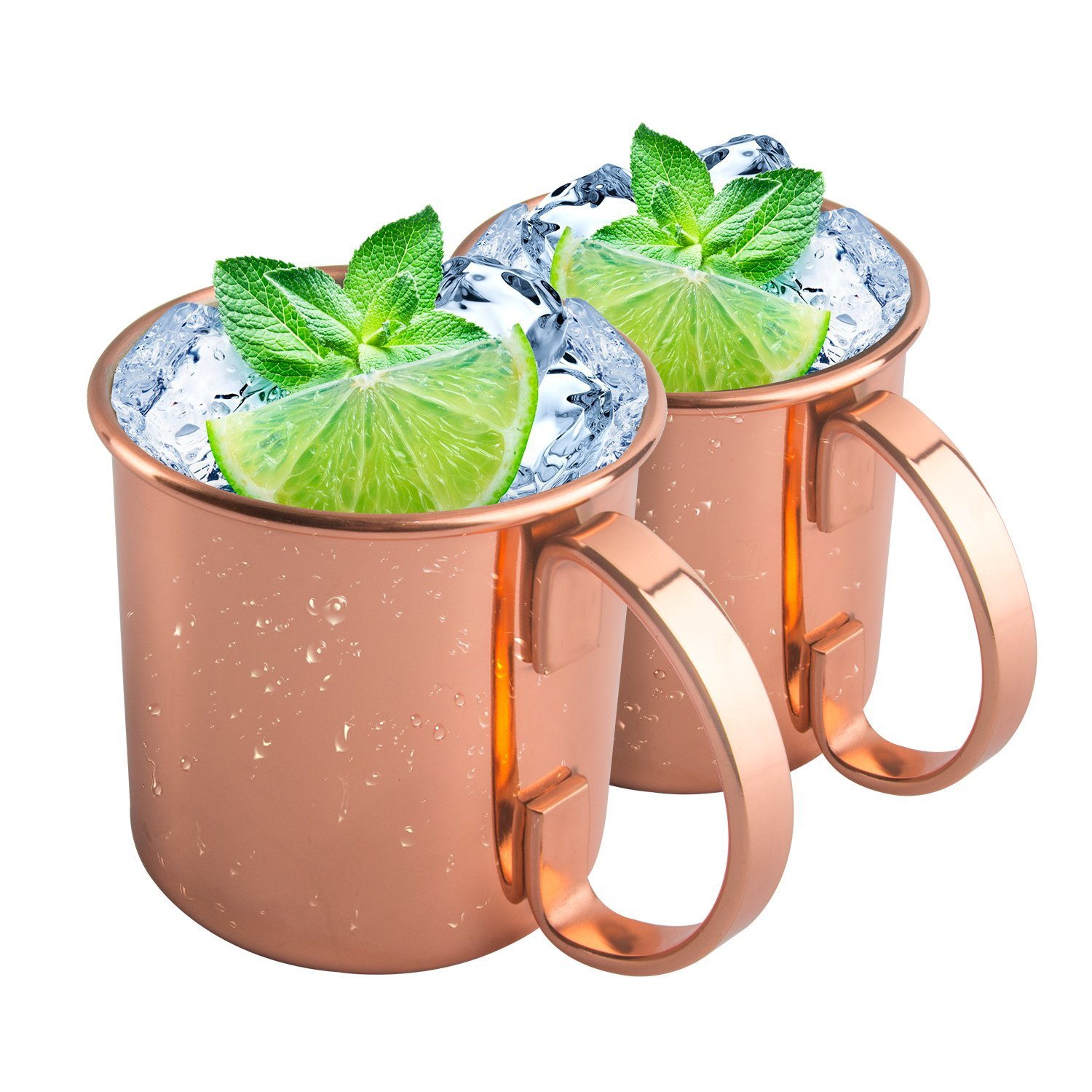 Tassytown Moscow Mule Copper Mugs, Set of 2, Best Mug for Mules, Beer and other Ice Cold Drindks, 16 Oz