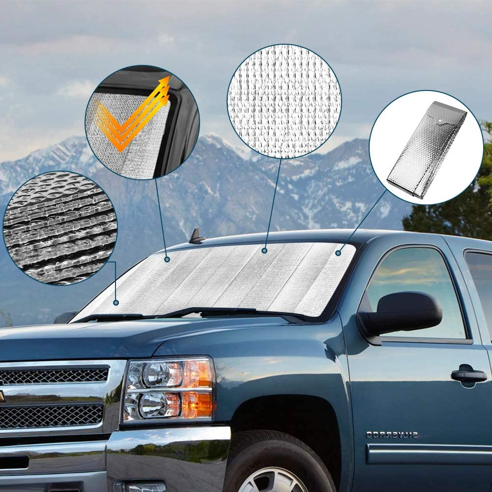 Car Windshield Sun Shade Blocks UV Rays Sun Visor Protector Easy to Use Front Window Car Sun Shade for Windshield Silver Foldable Sun Reflector to Keep Your Vehicle Cool