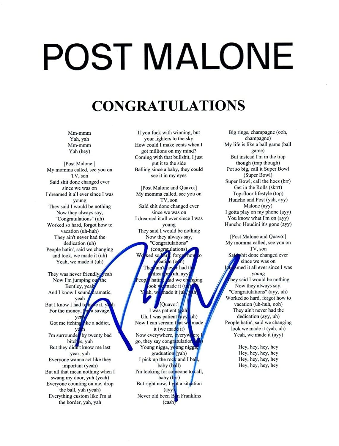 Post Malone Signed Autographed CONGRATULATIONS Song Lyric Sheet