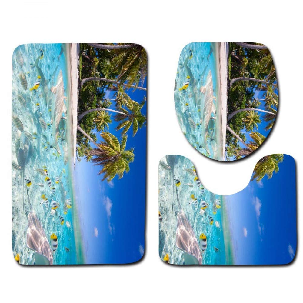 GMYANMTD Die 3 Sätze Badteppich Matte und WC Sitzbezug Meer und blau WC Anti-Rutsch-Matte und WC-Sitzbezug Badematte B07HF83K4V Duschmatten