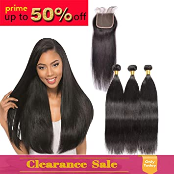 9A Brazilian Straight Human Hair Weave 3 Bundles with Lace Closure 100%  Unprocessed Virgin Human 50fe196356