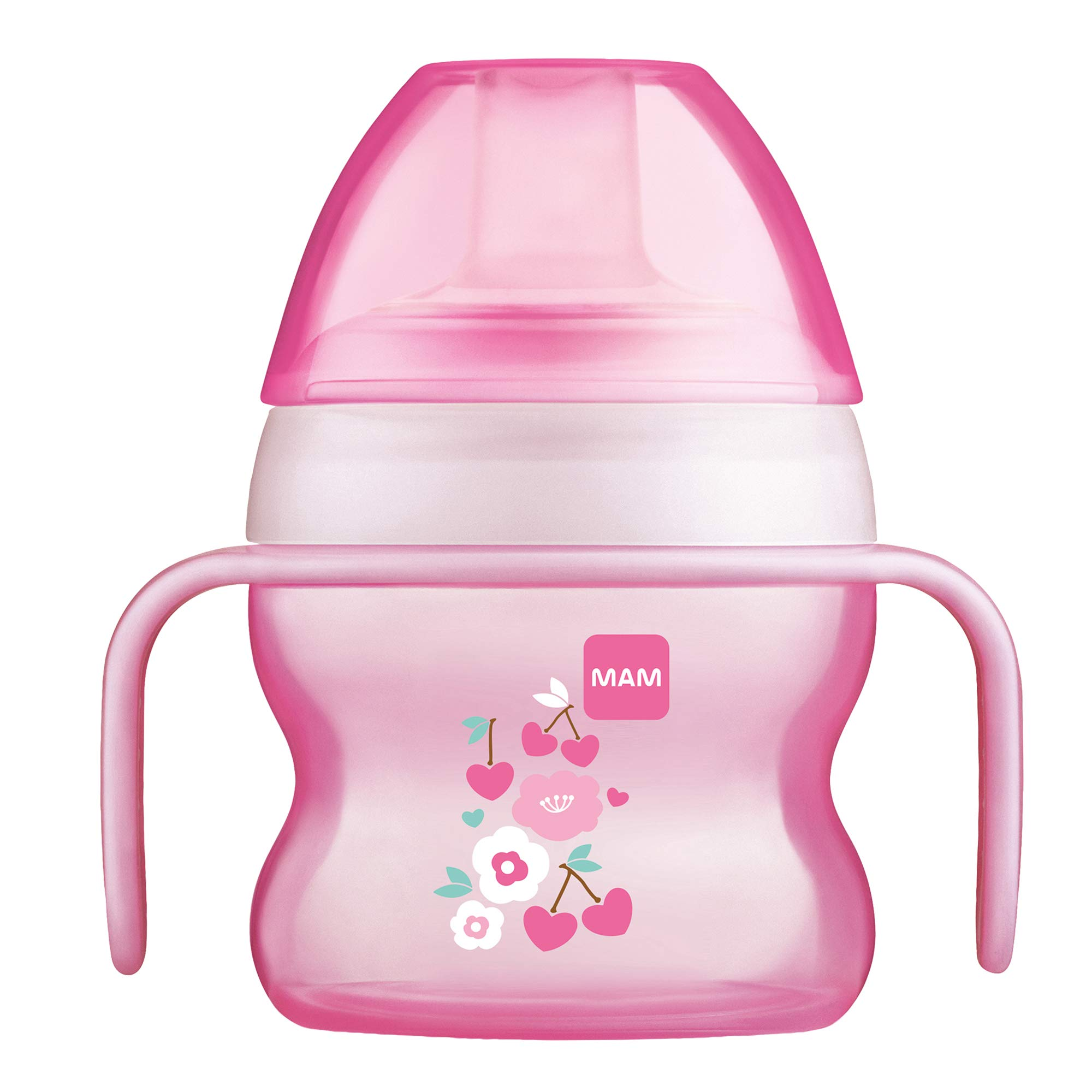 MAM Starter Cup (1 Count), MAM Sippy Cup, Drinking Cup with Extra-Soft Spill-Free Spout and Non-Slip Handles, for Girls 4+ Months, Five Ounces, Pink