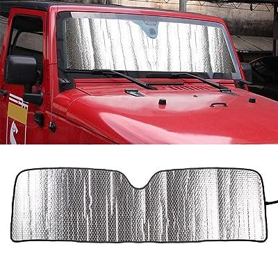 Windshield Sunshade Heat Shield for Jeep Wrangler Rubicon Sahara TJ JK JKU 2 Door & 4 Door Front Sun Shade Visor Mat: Automotive