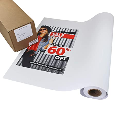 graphic about Printable Adhesive Vinyl called Image Peel Matte Printable Adhesive Vinyl Roll 24 inches x 60 ft Inkjet Peel and Adhere Sticker Paper Is effective with All Inkjet Printers Like