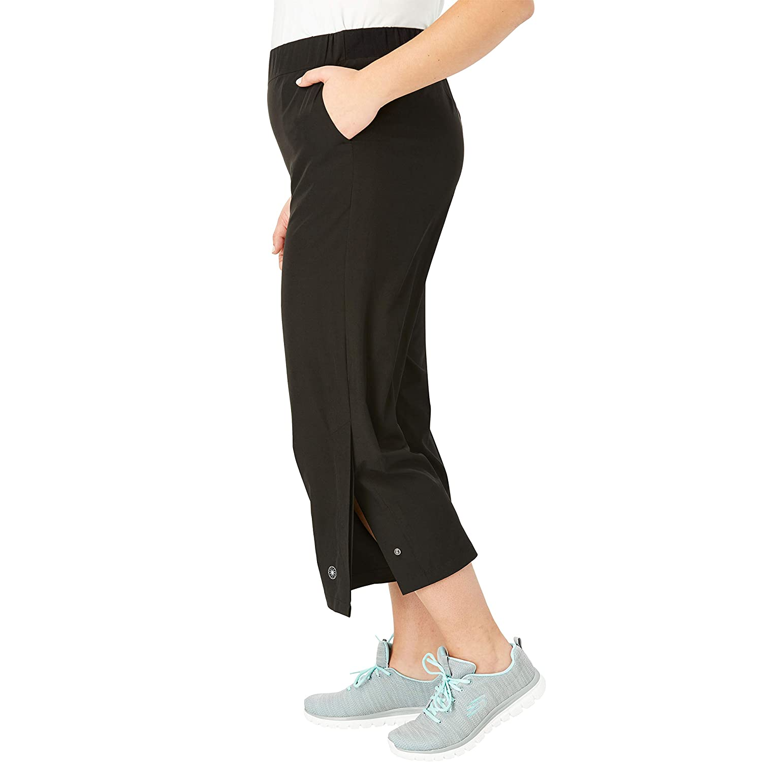 Womens Plus Size Stretch Woven Cropped Wide Leg Pant
