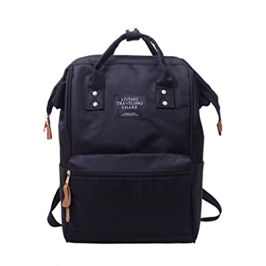 c755308902 Owill Unisex Solid Color Living Travelling Share Nylon Backpack School  Travel Bag Zipper Bag (Black