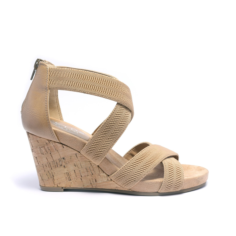 TOETOS Women's Solsoft_15 White Low Platform Wedges Back Zipper Sandals Size 8.5 B(M) US by TOETOS (Image #3)