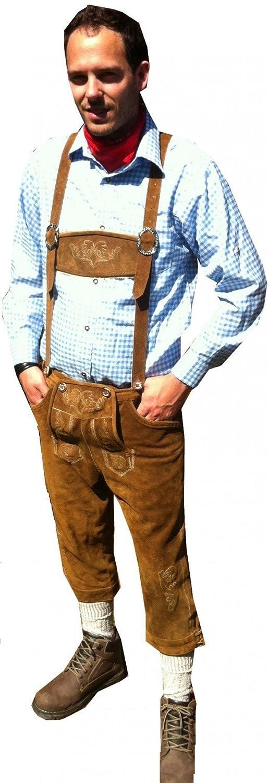 Kniebund Trachten Lederhose Leder Hose mit Trägern hellbraun Oktoberfest 52 54 56 58