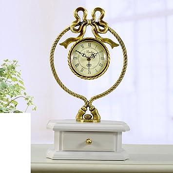 Relojes antiguos europeos reloj mudo grande Moderna sala de estilo reloj de latón reloj de aire American swing-B: Amazon.es: Hogar