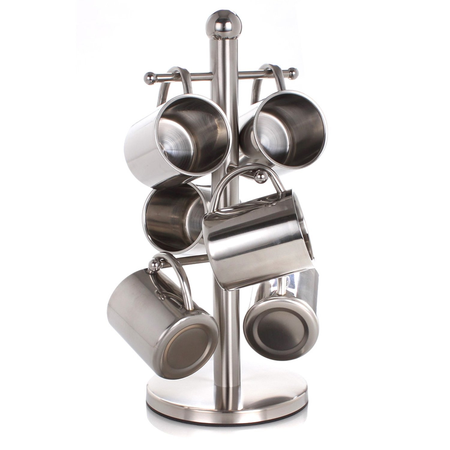 HUPPYNUTS Cups & Mugs Set Cup Holder 200mL Double-deck Stainless Steel Cup Coffee Beer Mug Heatproof Cup, Set of 6 Cups and Cup rack