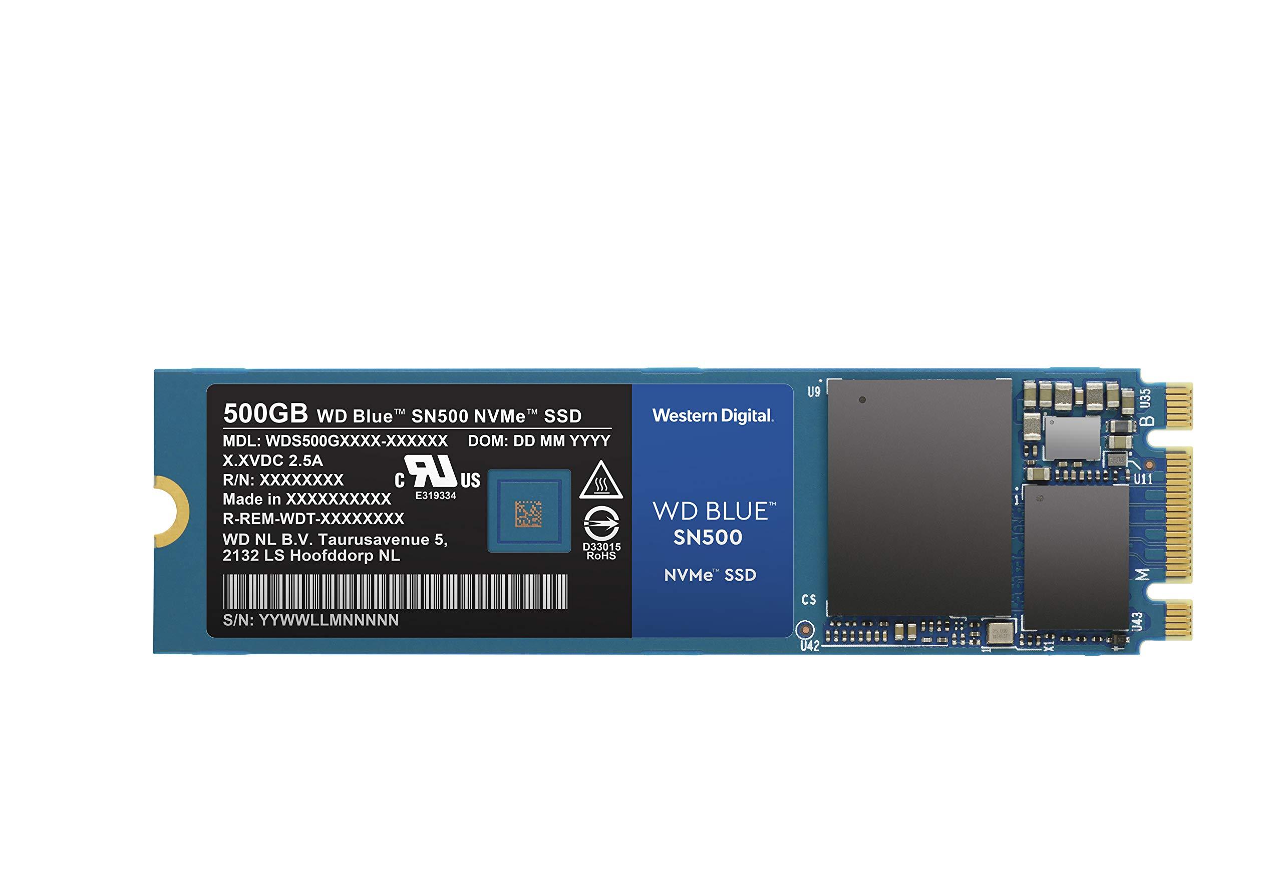 WD Blue SN500 500GB NVMe Internal SSD - Gen3 PCIe, M.2 2280, 3D NAND, Up to 1700 MB/s - WDS500G1B0C by Western Digital