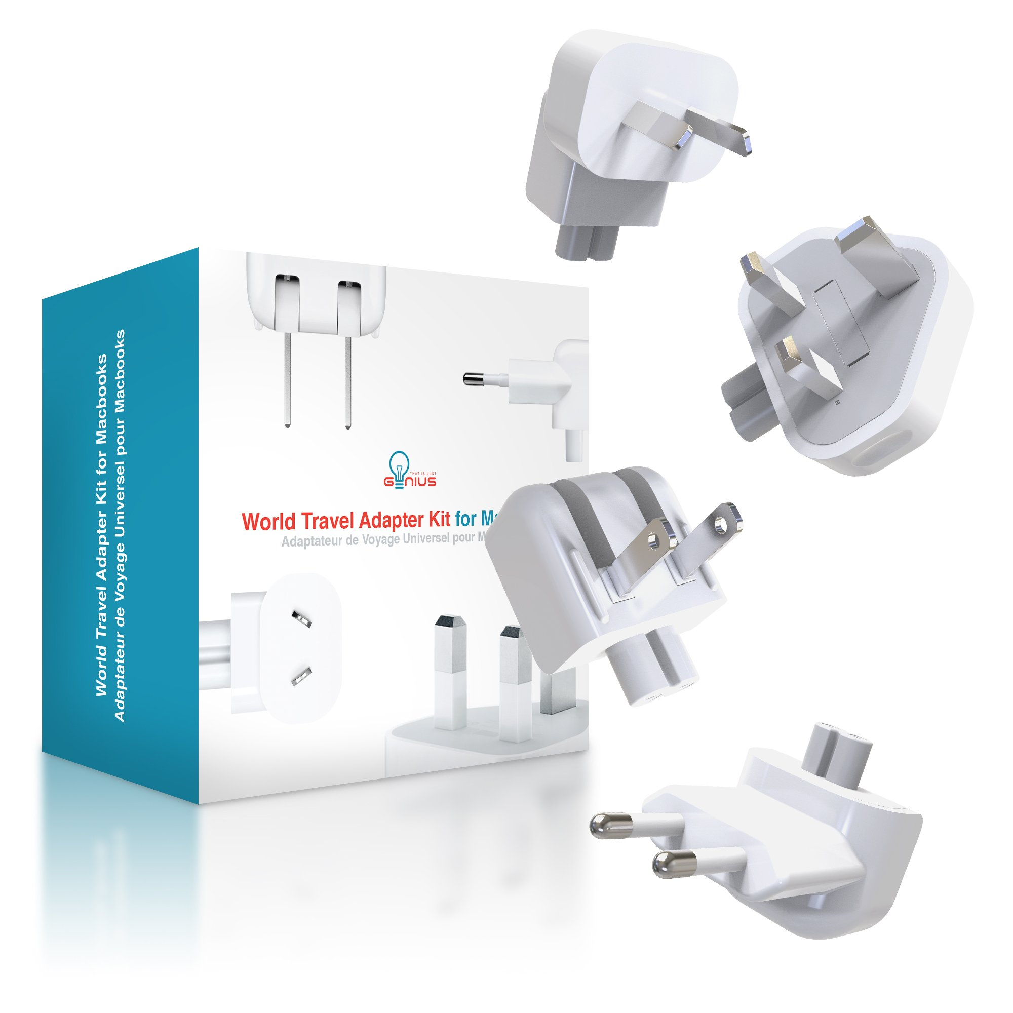 Universal Apple Macbook Travel Adapter Kit | Genius International Plug Charger Adapter | All-In-One World Kit For US, UK, EU, AU, China, Africa & More | Overcharging Protection For Your Laptop