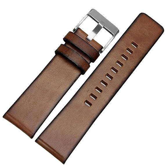 HQ marrón de repuesto de piel auténtica correa para reloj banda Fit Diesel Reloj 24 mm