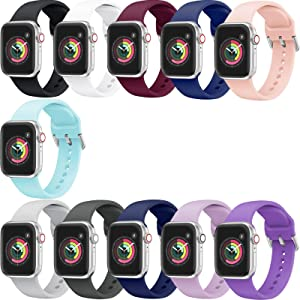 YSSNH Compatible with Apple Watch Bands 42mm 44mm, Sport Style 38mm 40mm Wristband, Soft Silicone Replacement Straps for iWatch Series 6/5/4/3/2/1
