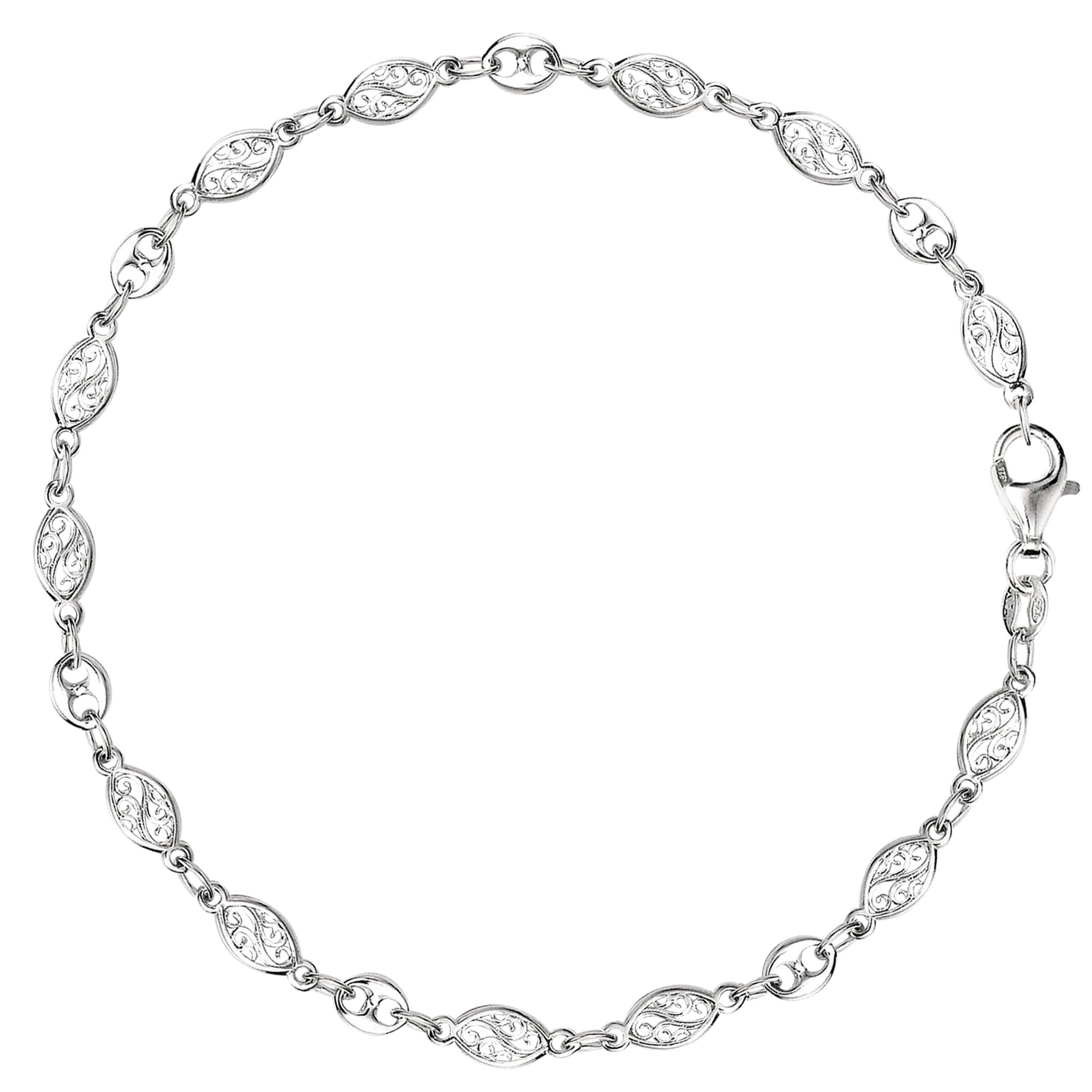 Mixed Filigree And Mariner Link Chain Anklet In Sterling Silver, 10''