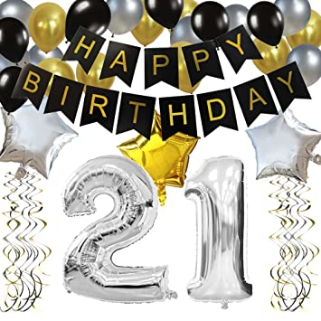 KUNGYO Classy 21st Birthday Party Decorations Kit Black Happy Brithday BannerSilver 21 Mylar