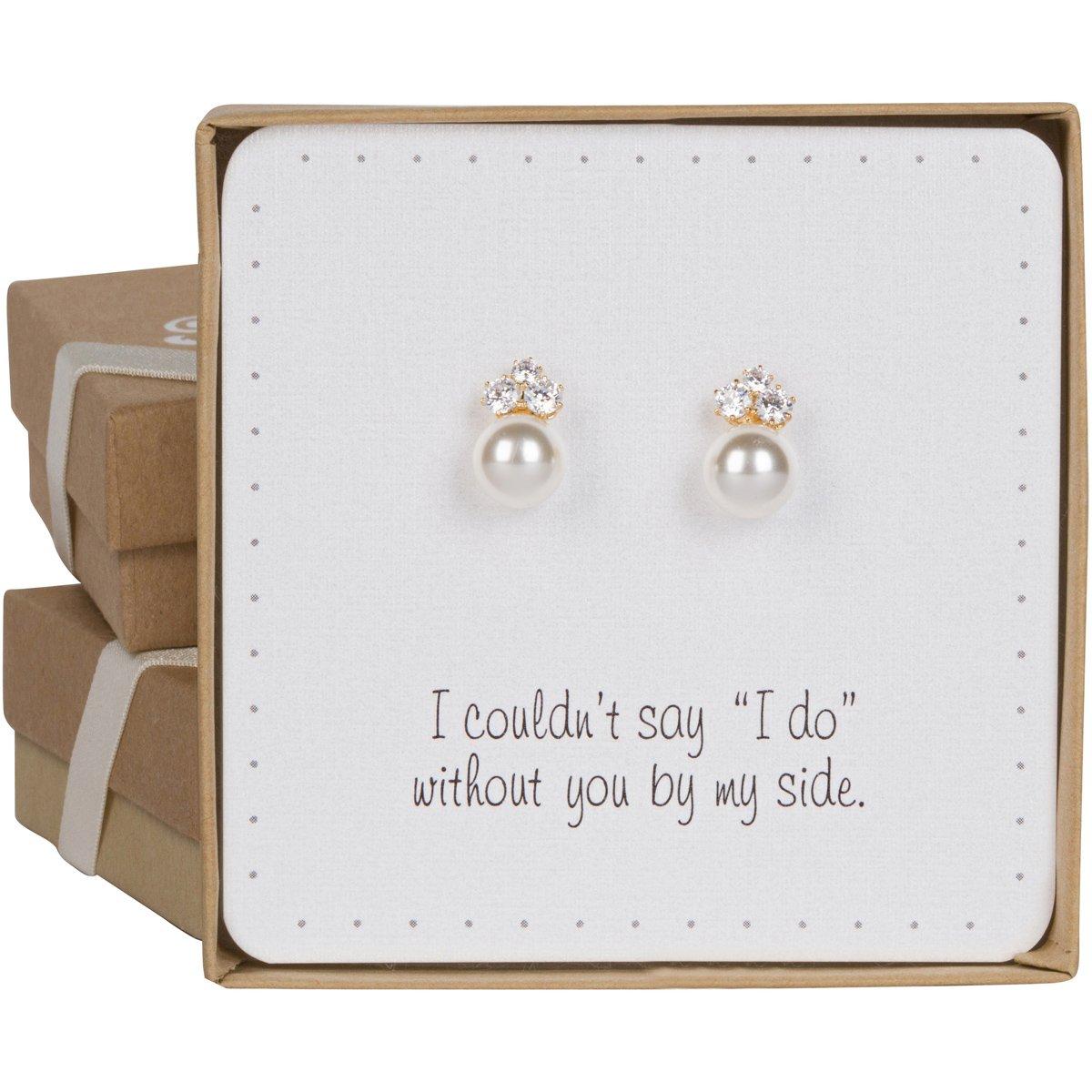 Bridesmaid Gifts - Elegant Pearl & Triple CZ Earrings (8mm, Simulated Pearl)