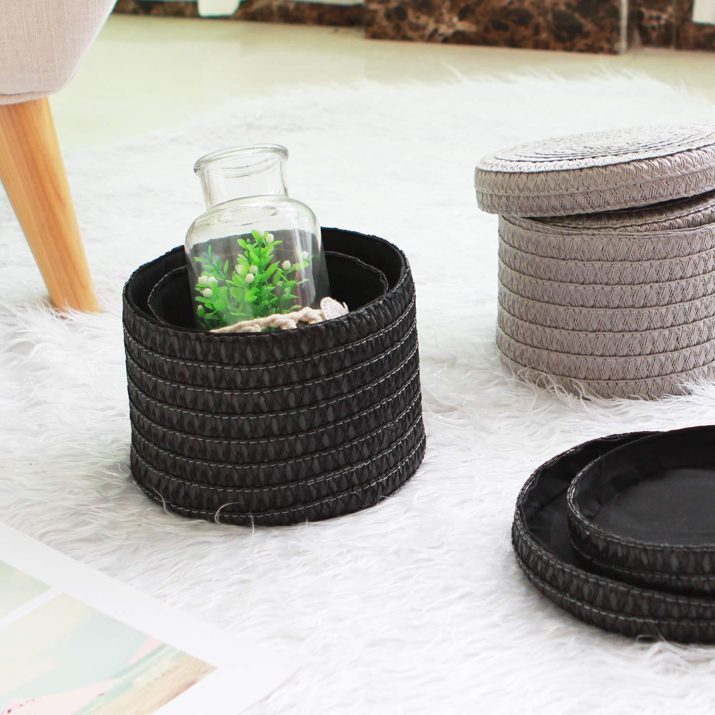 WM Homebase 2er Set Aufbewahrungskiste Aufbewahrungskorb Spielzeugkorb Organize mit Deckel aus Polypropylen Grau /Ø17x12cm /Ø16x10cm