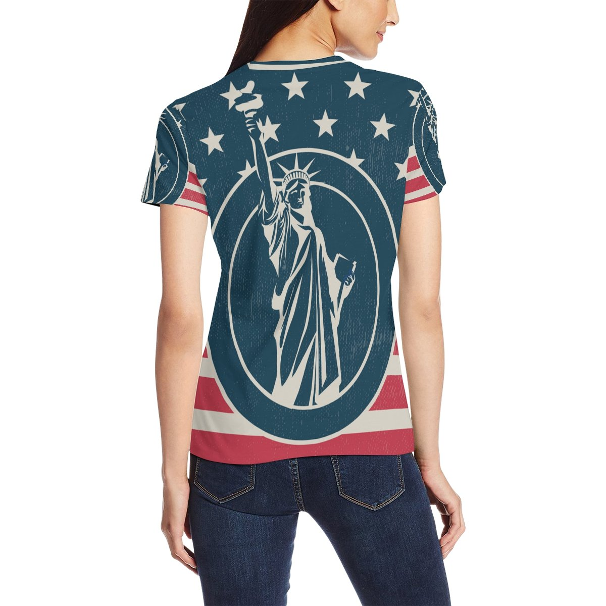 Amazon Vintage American Flag With Statue Of Liberty Womens 3d