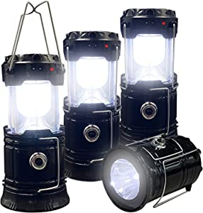 Collapsible Portable LED Camping Lantern XTAUTO Lightweight Waterproof Solar USB Rechargeable LED Flashlight Survival Kits for Indoor Outdoor Home Emergency Light Power Outages Hiking Hurricane 4-Pack