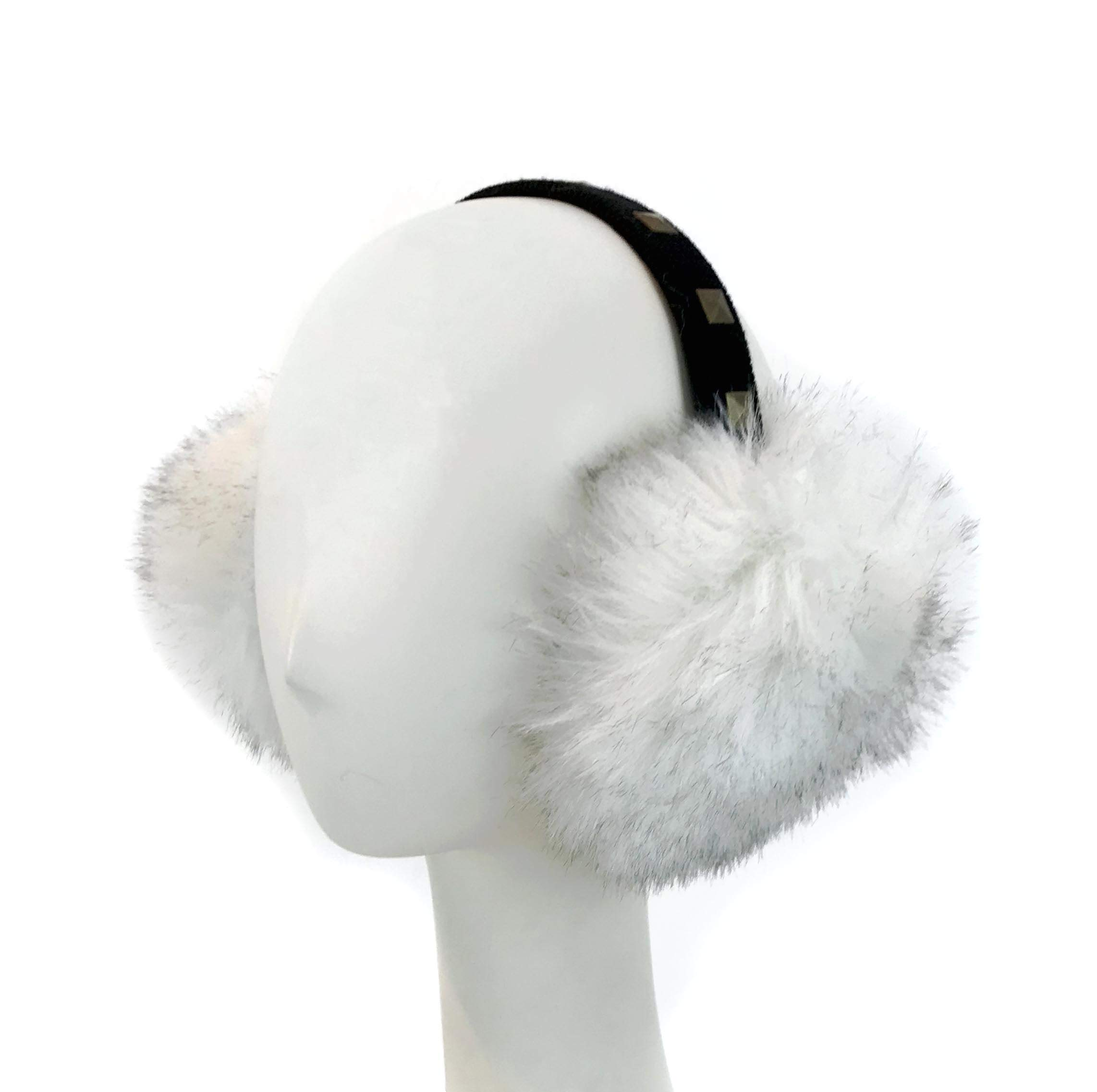 Surell Faux Fox Fur Earmuffs Studded Non Adjustable Band, Ear Warmers, Perfect Outerwear Luxury Gift