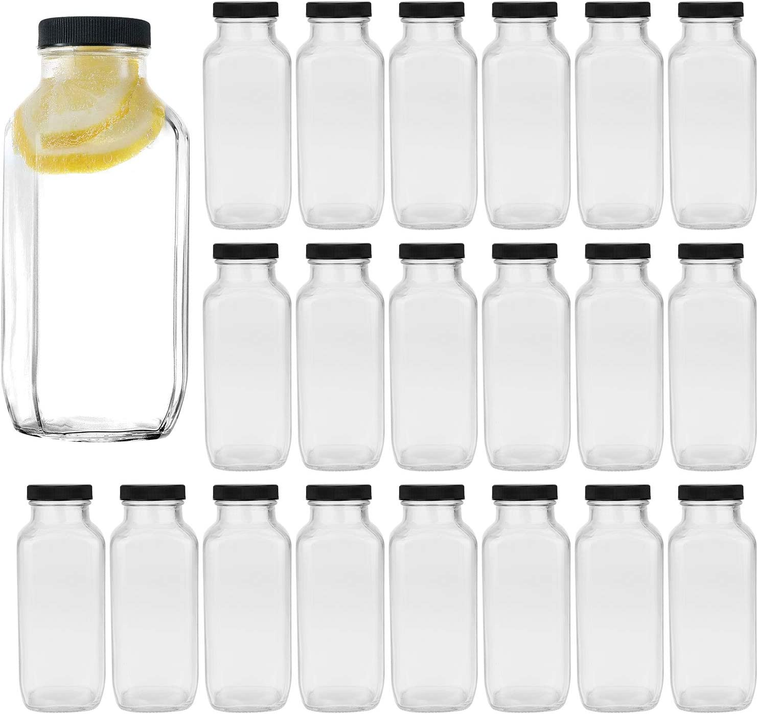 Vintage Water Bottles,Glass Drinking Bottles 16oz,Square Beverage Bottles 500ml With Lids For Kombucha,Tea,Glass Bottles For Homemade Drinks,Travel Reusable Milk Bottles Juiceing Bottles 20Pack