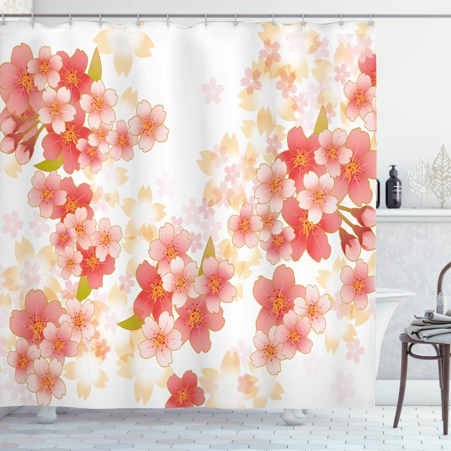 "Ambesonne Floral Shower Curtain, Japanese Sakura Flowers Cherry Blossoms in Vibrant Colors Illustration, Cloth Fabric Bathroom Decor Set with Hooks, 84"" Long Extra, Dark Coral"