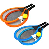 PACK of 2 Jumbo Soft Tennis Set With Soft Ball and Shuttlecock ~ Outdoor Beach Toy Tennis Rackets for Kids to Play Tennis or Badminton