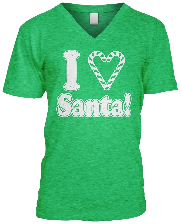 Blittzen Mens V-neck T-shirt I Heart Santa