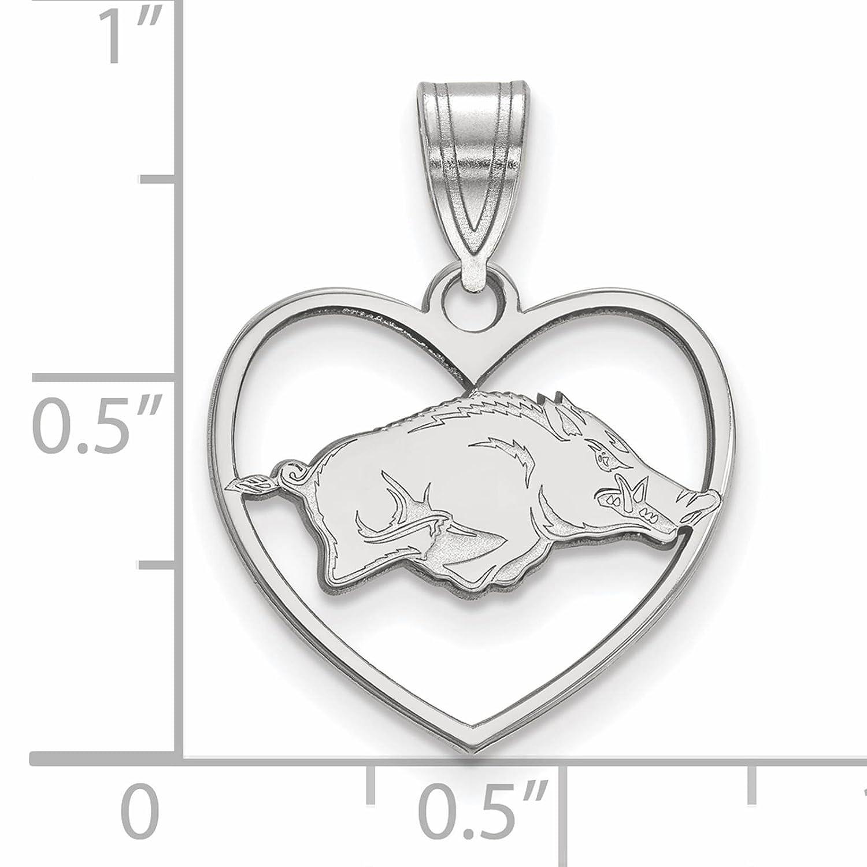 925 Sterling Silver Rhodium-plated Laser-cut University of Arkansas Heart Pendant