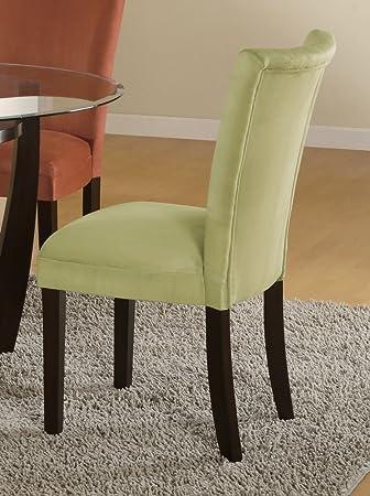 Parson Chair (Set of 2) in Light Green Microfiber - Coaster & Amazon.com | Parson Chair (Set of 2) in Light Green Microfiber ...