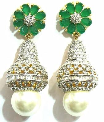 dfc5356fe Buy Jewelshingar Jewellery American Diamond earrings danglers Studs For  Women (4815-ead-green-j-1499) Online at Low Prices in India   Amazon  Jewellery Store ...