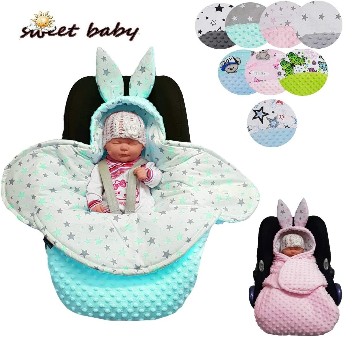 Cot Pushchair etc. Car Seat Sweet Baby Minky Bunny Swaddling Blanket Universal for Maxi COSI Baby Seat