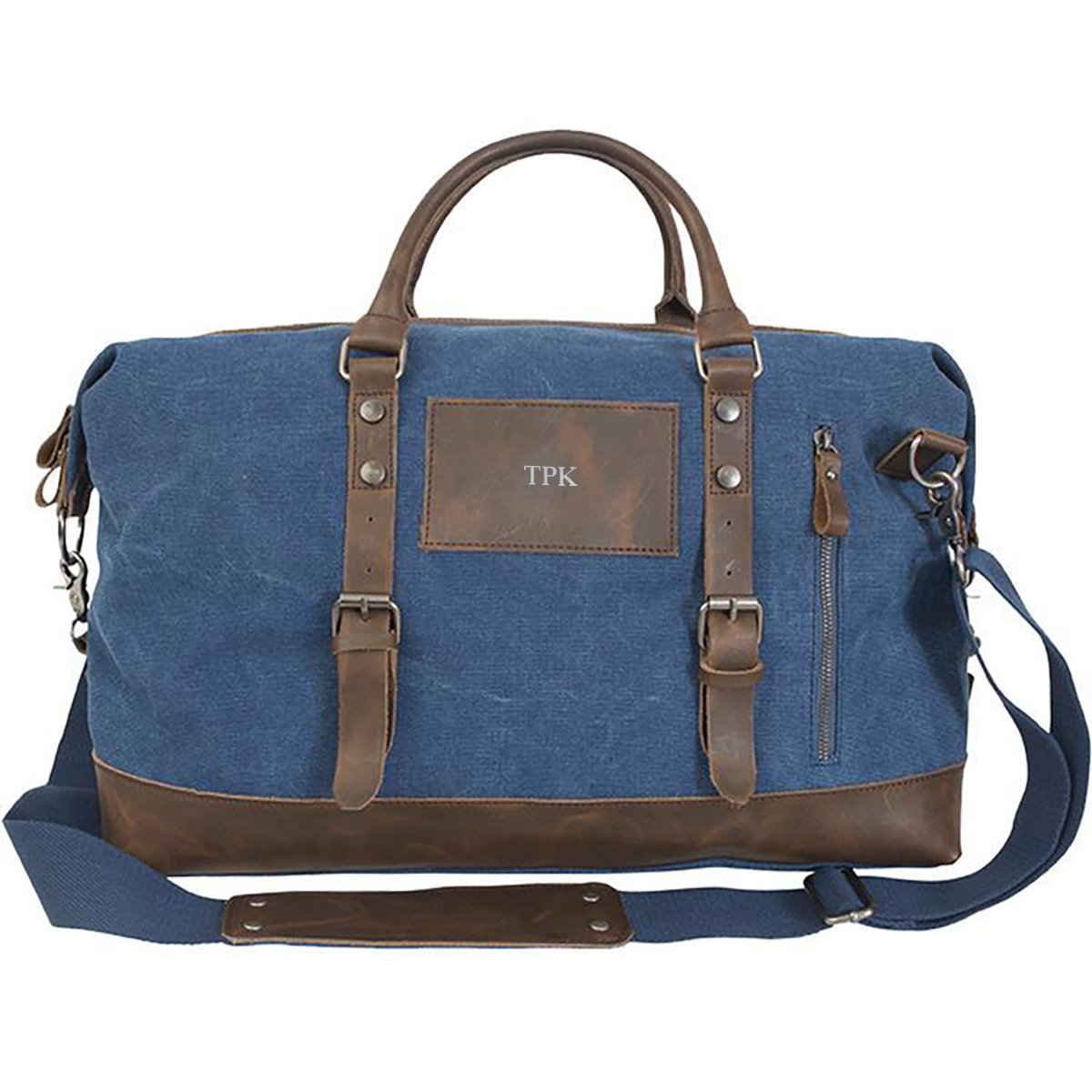 A Gift Personalized Personalized Blue Canvas and Leather Weekender Duffel Bag - Silver