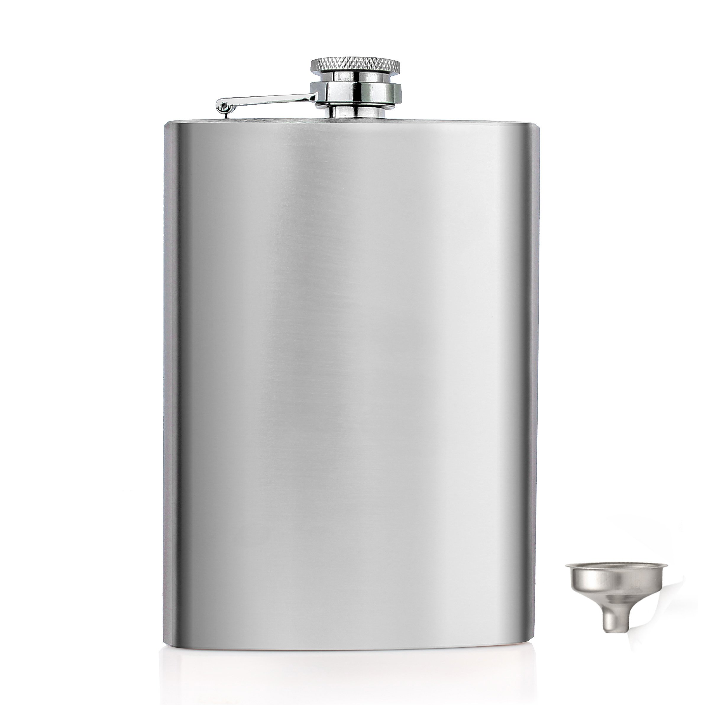 Menghao 10 oz Steel Stainless Hip Flask Silver Free Funnel Liquor Drinking of Alcohol Whiskey Gift for Men