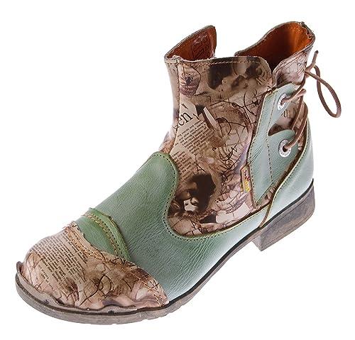 Tma - Chaussures À Lacets En Cuir Femmes, Vert, Taille 38