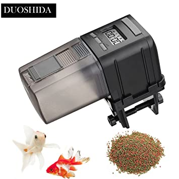 DUOSHIDA alimentador de peces, alimentador automático de peces, funciona con pilas, dispensador de