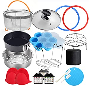 18 Pcs Pressure Cooker Accessories Compatible with Instant Pot 6 Qt - Steamer Basket, Glass Lid, Silicone Sealing Rings, Egg Bites Mold, Springform Pan, Egg Steamer Rack and More
