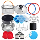 18 Pcs Pressure Cooker Accessories Compatible with Instant Pot 6 Qt - Steamer Basket, Glass Lid, Silicone Sealing Rings…