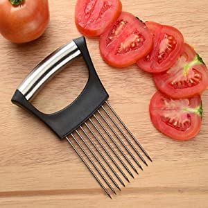 DZT1968 Food Slice Assistant - All-in-One Onion Holder, Stainless Steel Slicer Chopper for Onion Slicing Tomato Potato Vegetable Chopper Fruits Cutter Safety Cooking Tools Kitchen Cutting Aid Gadget