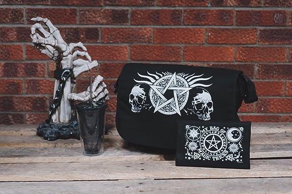 Notebooktaschen Ranzen, Taschen & Rucksäcke Messenger Bag Totenkopf Pentagramm Schwarz 38x33x11cm