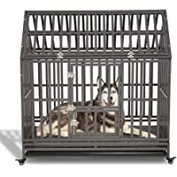 LUCKUP Heavy Duty Dog Cage Strong Metal Kennel and Crate for Medium and Large Dogs, Pet Playpen with Four Wheels,Easy to…