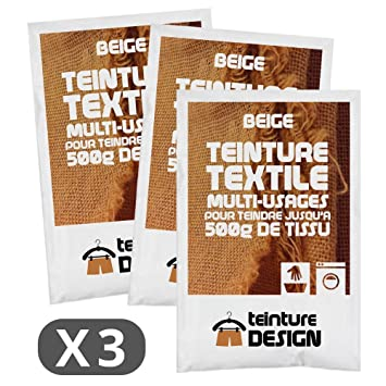 Set de 3 bolsas de tinte textil – Beige – Teintures universales para ropa y telas naturales