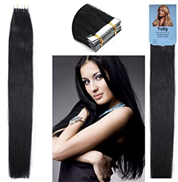Amazon.com   Yotty Women Hair Extensions Brazilian Remy Human Hair Grade 7a  Seamless Tape-in Skin Weft (16Inch 20Pcs 30Gram 1b631b27e7